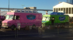 So we just noticed that Tacofest was next to Sausagefest at #CES2015